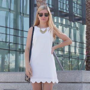 Scalloped Edge White Shift Dress